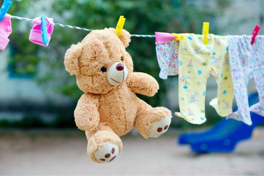mjuka leksaker tvätta med sängkläder