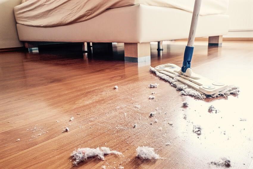 damm på golvet
